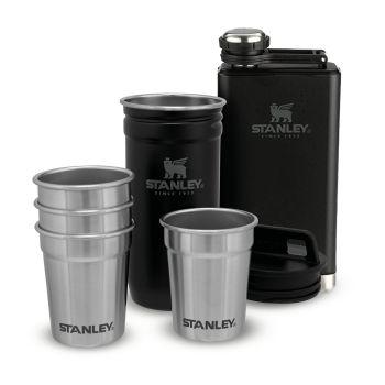 Stanley ADVENTURE PRE-PARTY SHOT GLASS + FLASK SET, steklenica alu, črna