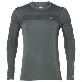 Asics SEAMLESS LS TEXTURE, moška tekaška majica, siva