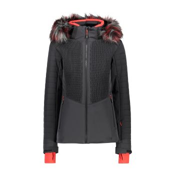 CMP WOMAN JACKET ZIP HOOD, ženska smučarska jakna, črna