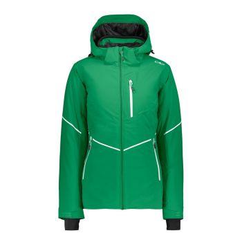 CMP WOMAN JACKET ZIP HOOD, ženska smučarska jakna, zelena
