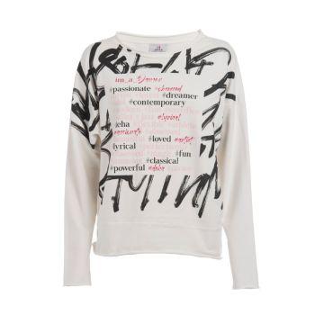 Deha FELPA GIROCOLLO CON SCRITTE, ženski pulover, bela