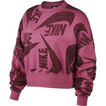 Nike W NSW ICN CLSH FLC CREW, pulover ž., roza