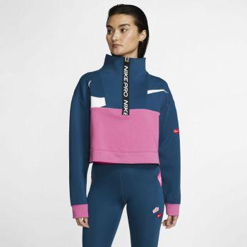 Nike W NK DRY GT FT FLC TOP ICNCLSH, pulover ž.fit, modra