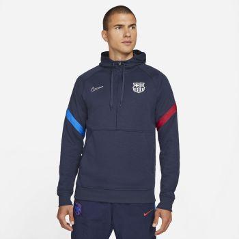 Nike FC BARCELONA DRI-FIT 1/2-ZIP SOCCER HOODIE, pulover m.nog nv, modra