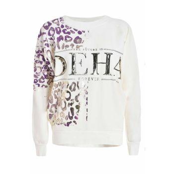 Deha FELPA CORTA CON GRAFICA, ženski pulover, bela