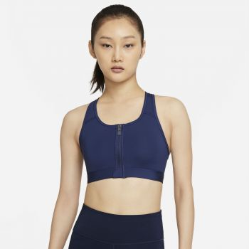 Nike DRI-FIT SWOOSH ZIP-FRONT SPORTS BRA, ženski športni nedrček, bela
