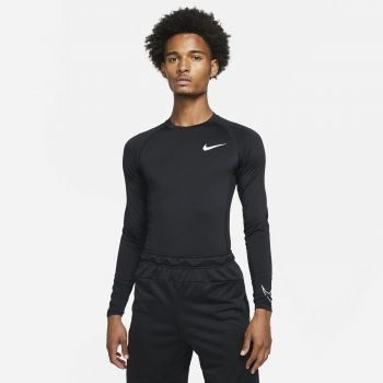 Nike PRO DRI-FIT TIGHT FIT LONG-SLEEVE TOP, maja, črna