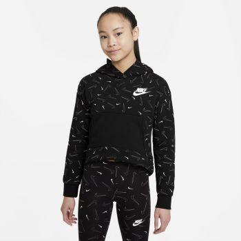 Nike SPORTSWEAR PRINTED FLEECE HOODIE, pulover o.fit, črna