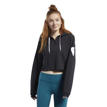 Reebok WOR MYT 1/4 ZIP HOODIE, pulover ž.fit, črna