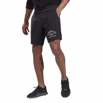 Reebok WOR WOVEN GRAPHIC SHORT, moške fitnes hlače, črna