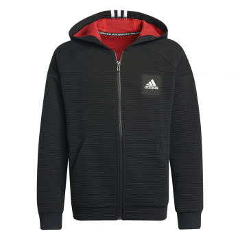 adidas B STA FZ HD, pulover o.fit, črna