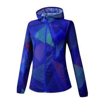 Mizuno PRINTED HOODIE JACKET, ženska tekaška jakna, modra