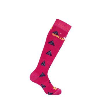 Salomon TEAM JR 2/1, otroške smučarske nogavice, roza