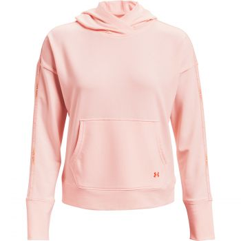 Under Armour RIVAL TERRY TAPED HOODIE, pulover ž.fit, roza