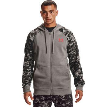 Under Armour RIVAL FLC CAMO SCRIPT FZ, moški pulover, siva