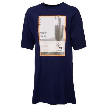 Superdry DESERT GRAPHIC T-SHIRT DRESS, obleka, modra