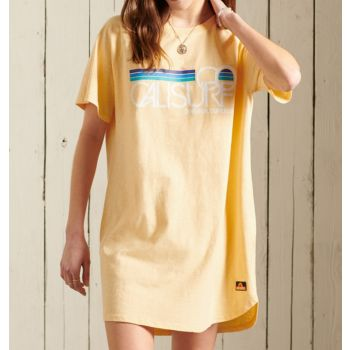 Superdry CALI SURF RAGLAN TSHIRT DRESS, obleka, rumena