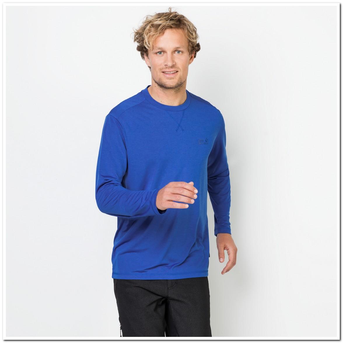 Jack Wolfskin CROSSTRAIL LONGSLEEVE MEN, moška pohodna majica, modra