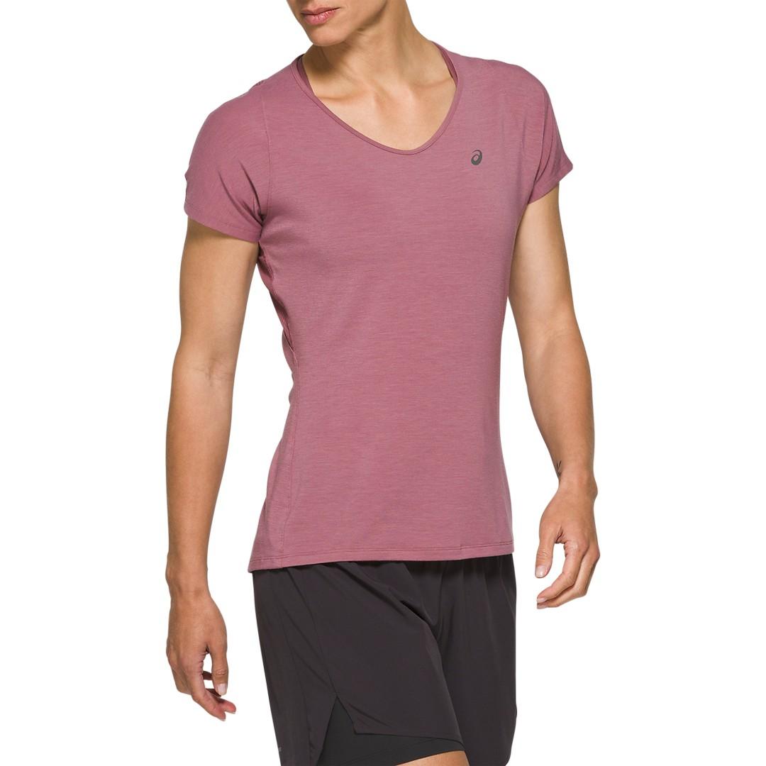 Asics V NECK SS TOP, ženska tekaška majica, vijolična