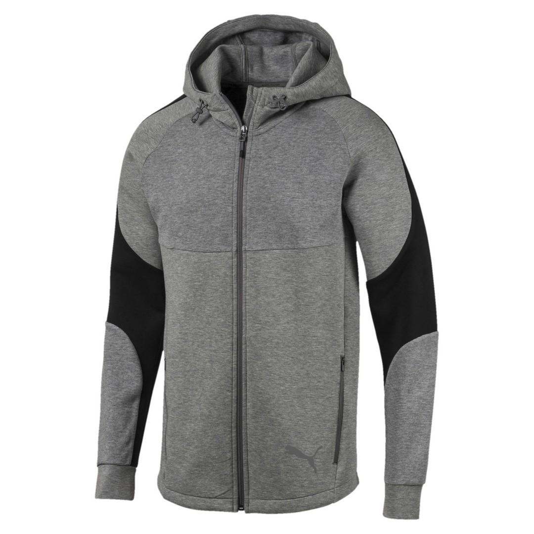 Puma EVOSTRIPE FZ HOODY, pulover m., siva
