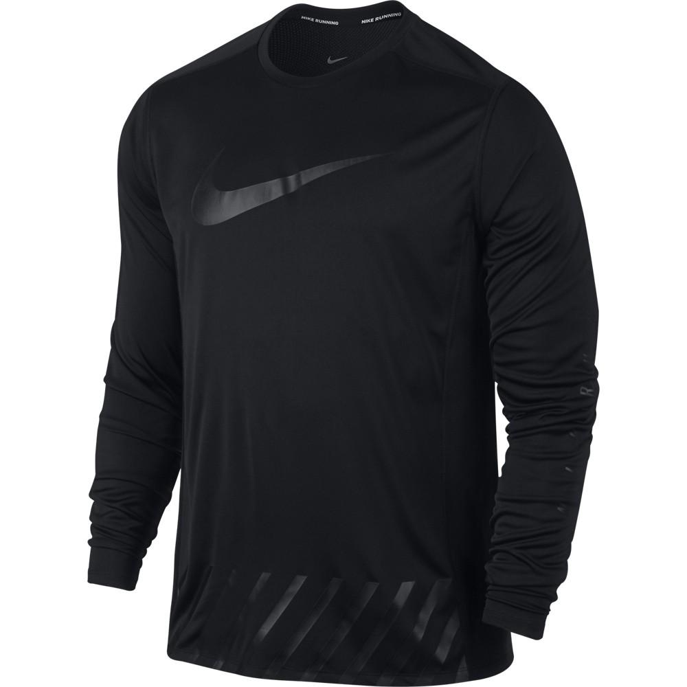 Nike M Nk Dry Miler Top Ls Ssnl Gx, moška tekaške srajca, črna