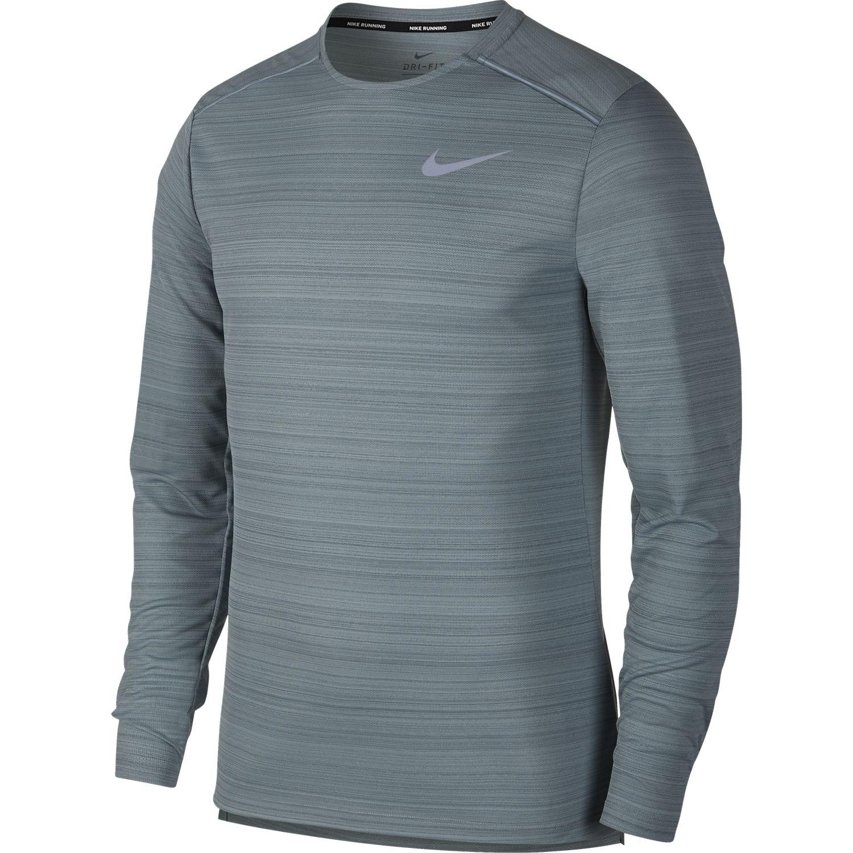 Nike M NK DRY MILER TOP LS, moška tekaška majica, siva