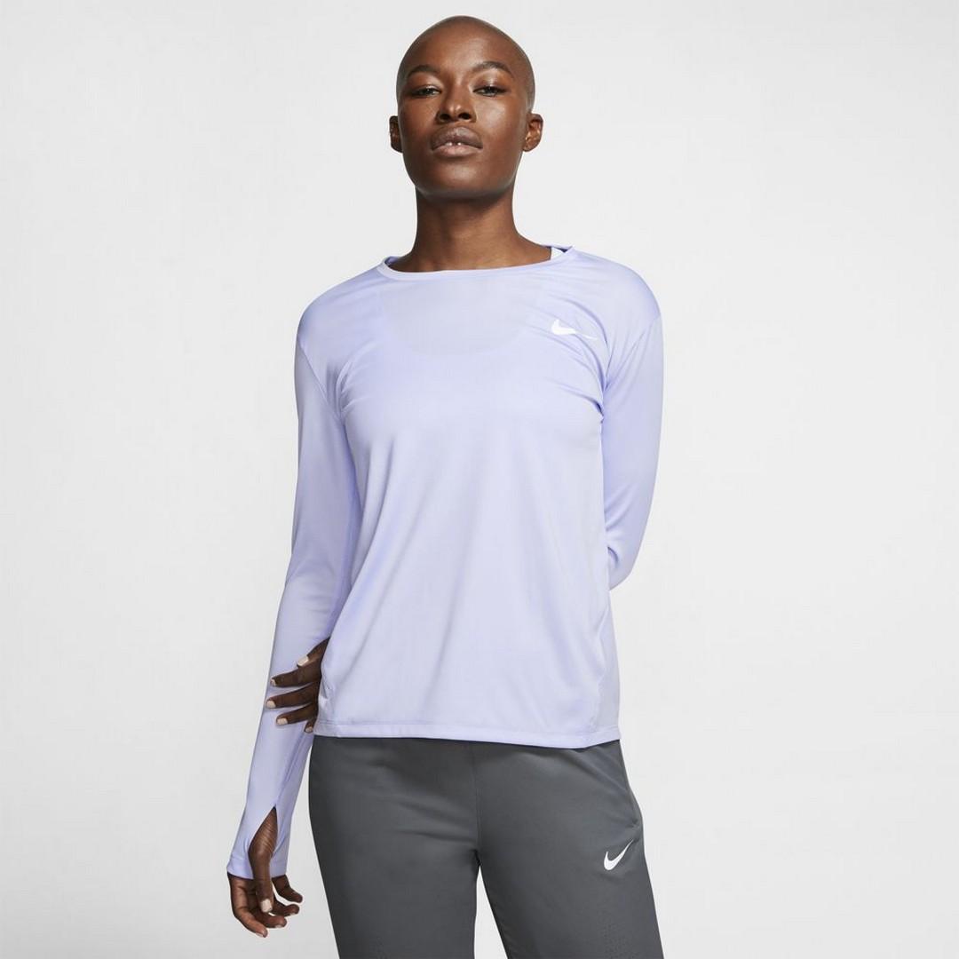 Nike W NK MILER TOP LS, ženska tekaška majica, vijolična