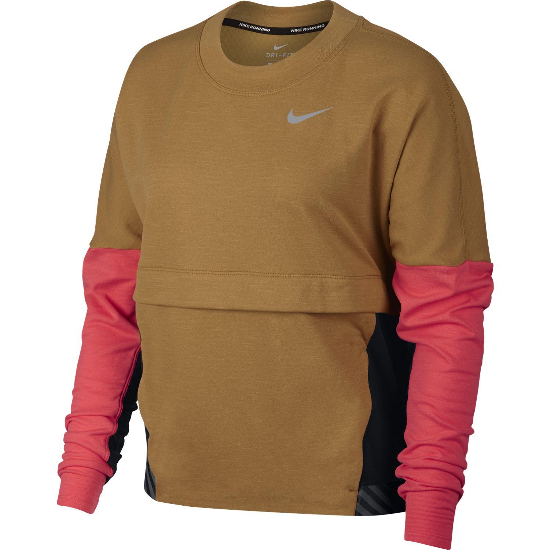 Nike W NK THRMA SPHR TOP SD, ženska tekaška majica, rjava