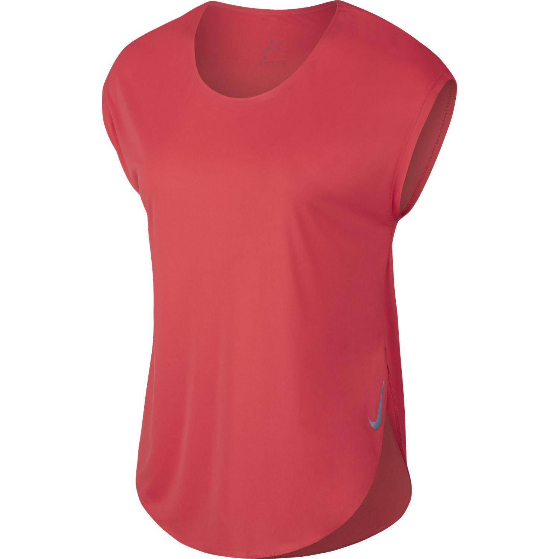 Nike W NK CITY SLEEK TOP SS, ženska tekaška majica, rdeča