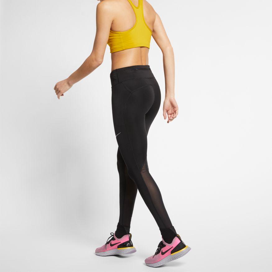 Nike W NK FAST TGHT MR, ženske tekaške pajke, črna