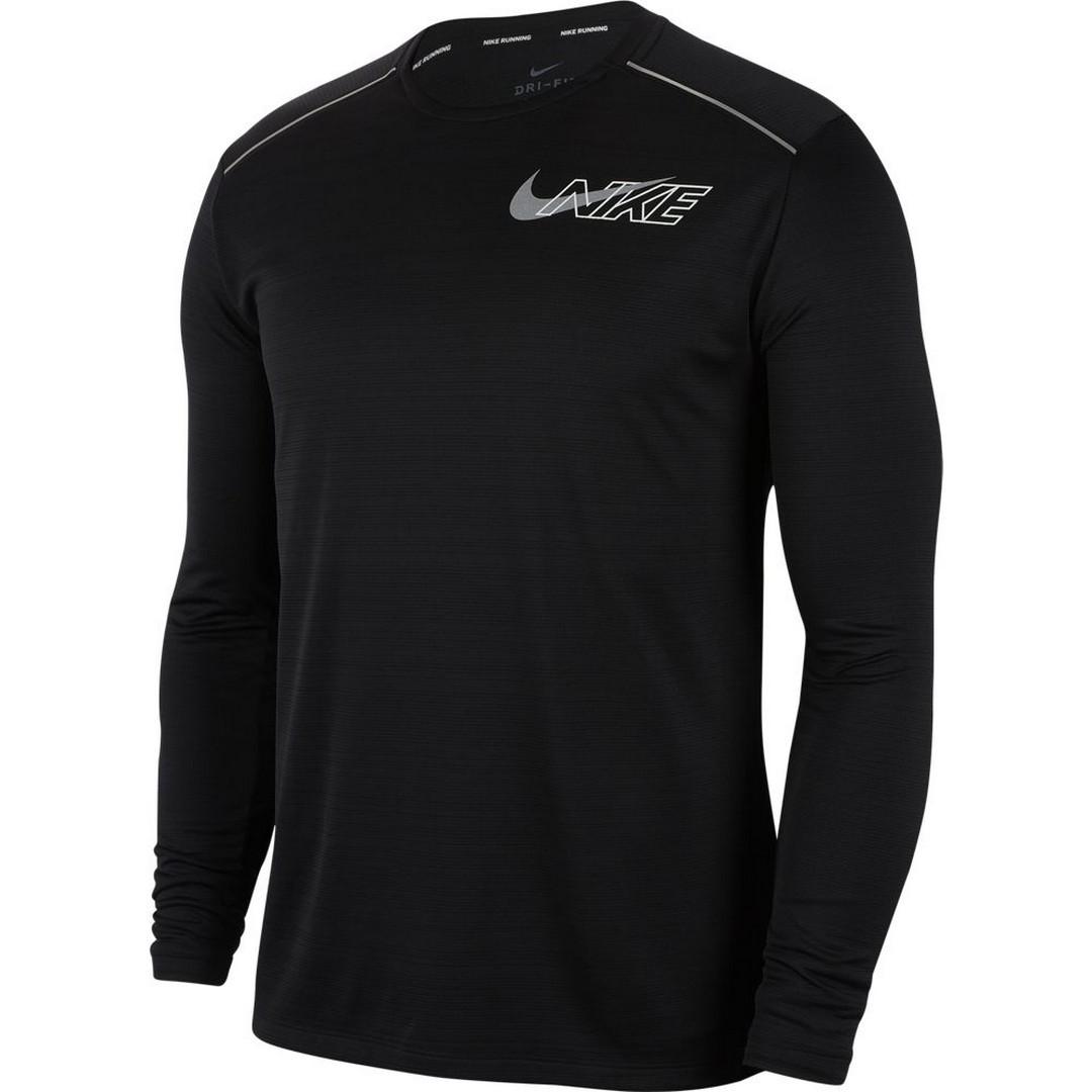 Nike M NK DF MILER LS FLASH NV, moška tekaška majica, črna
