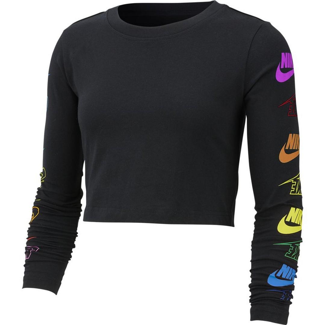 Nike W NSW TEE LS FUTURA FLIP CROP, ženska majica, črna