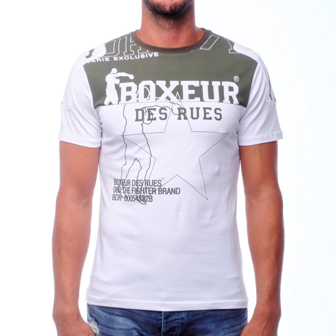 Boxeur PRINTED BASIC T-SHIRT WITH PATCH ON THE SHOULDER, moška majica, bela