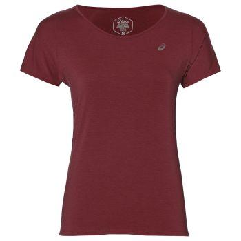 Asics V-NECK SS TOP, ženska tekaška majica, rdeča