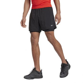 Reebok RE 2-1 SHORT, moške kratke tekaške hlače, črna
