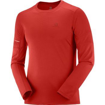Salomon AGILE LS TEE M, moška tekaška majica, rdeča