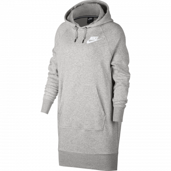 Nike W NSW RALLY HOODIE DRESS RIB, pulover ž.kap., siva