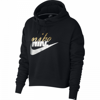 Nike W NSW RALLY HOODIE METALLIC, pulover ž.kap., črna