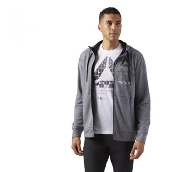 Reebok Speedwick Full-zip Hoody, pulover m.fit, siva