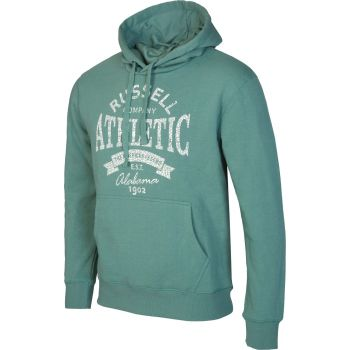Russell Athletic PULL OVER HOODY SWEAT WITH GRAPHIC PRINT, moški pulover, zelena