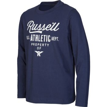 Russell Athletic L/S CREW NECK TEE - GRAPHIC PRINT, puli o.zip, modra