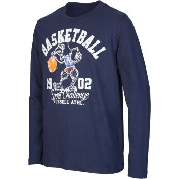 Russell Athletic L/S CREW NECK TEE - BASKETBALL PRINT, puli o.zip, modra