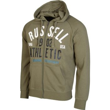 Russell Athletic ZIP THROUGH HOODY SWEAT WITH 1902 ATHLETIC PRINT, moška jopa, zelena