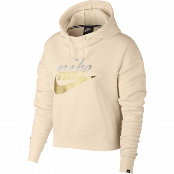 Nike W NSW RALLY HOODIE METALLIC, pulover ž.kap., bež
