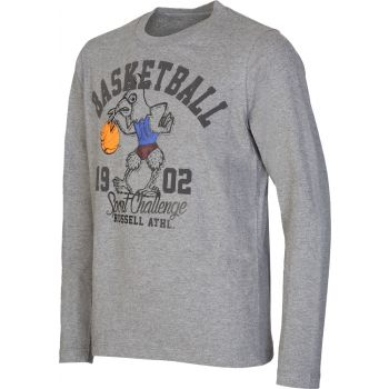 Russell Athletic L/S CREW NECK TEE - BASKETBALL PRINT, puli o.zip, siva