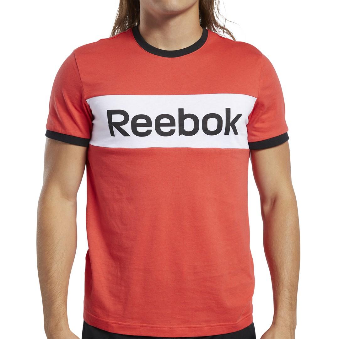Reebok TE LL BLOCKED SS TEE, moška majica, rdeča