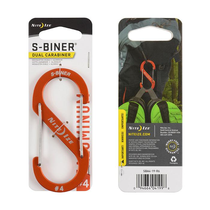 Niteize S-BINER DUAL CARABINER, dodatki za kampiranje, oranžna