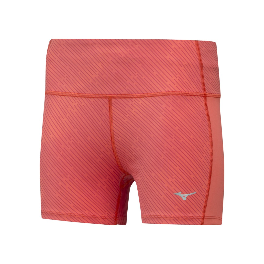 Mizuno IMPULSE PRINTED SHORT TIGHT, ženske tekaške hlače, oranžna